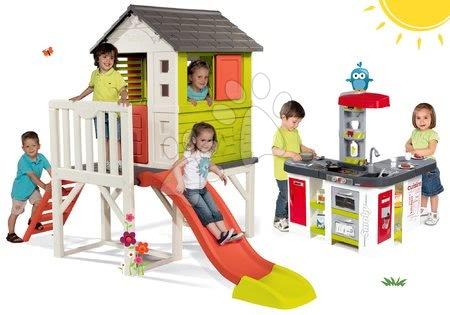 Jucării pentru fetițe - Set căsuţă pe piloni Pilings House Smoby cu tobogan de 1,5 m și bucătărie Tefal Studio XXL electronică cu barbotare şi gheaţă de la 24 luni