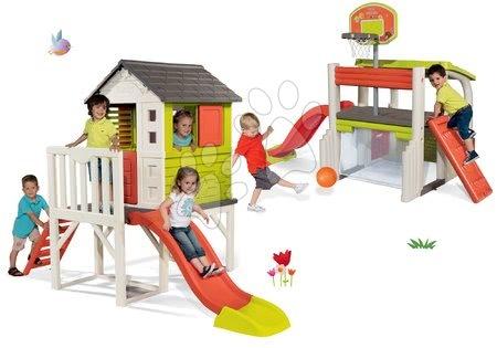 Set domeček na pilířích Pilings House Smoby s 1,5 m skluzavkou a hrací centrum Fun Center se stolem od 24 měsíců