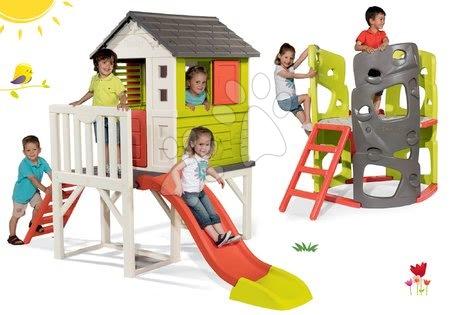 Igračke za djecu od 2 do 3 godine - Set kućica na stupovima Pilings House Smoby s toboganom od 1.5 m i penjalica Multiactivity Climbing Tower od 24 mjeseca