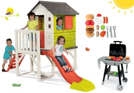 Jucării pentru fetițe - Set căsuţă pe piloni Pilings House Smoby cu tobogan de 1,5 m și bucătărie Barbecue Grill cu accesorii de la 24 luni