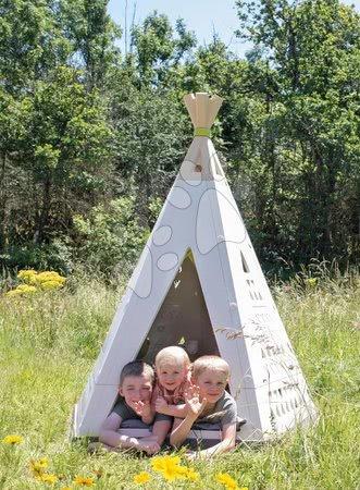 - Szett házikó Jóbarátok Smoby előkerttel és natúr indián sátor TeePee két taburettel_1