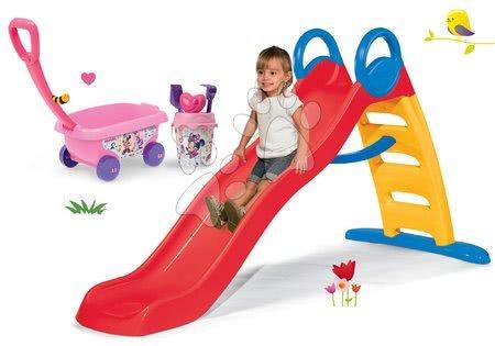 Set tobogan Toboggan Funny 200 cm Smoby i kolica za povlačenje Minnie sa setom s kanticom od 24 mjeseca starosti