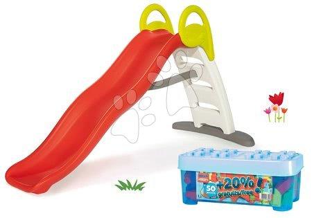Tobogane pentru copii - Set tobogan cu jet de apă Funny Double Toboggan Smoby de 2 metri și joc de construit în cutie de depozitare 50+20% cuburi albastru