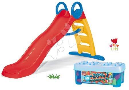 Set tobogan cu jet de apă Funny Double Toboggan Smoby de 2 metri și joc de construit în cutie de depozitare 50+20% cuburi albastru