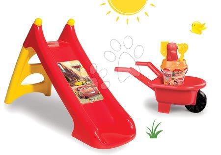 Set detská šmykľavka XS Autá Smoby dĺžka 90 cm a fúrik s vedro setom Autá od 24 mesiacov