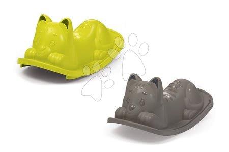 Gyerekhinták - Libikóka Cica Smoby fülekkel és kapaszkodókkal szürke és zöld 2 drb 18 hó-tól