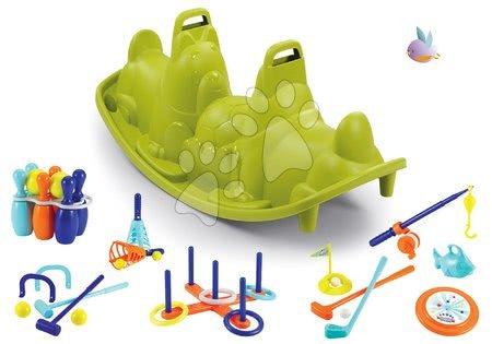 Houpačky pro děti - Set houpačka Tuleň oboustranná s vodotryskem Smoby a sportovní set 7 her