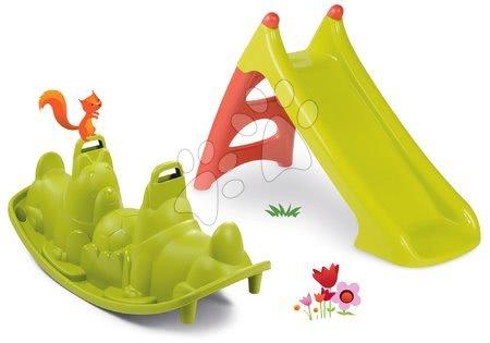 Houpačky pro děti - Set houpačka Tuleň oboustranná s vodotryskem Smoby a skluzavka Toboggan XS s vodou délka 90 cm