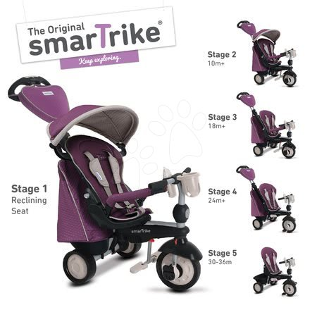 Tricicletă Recliner Infinity 5in1 smaTrike Purple TouchSteering mov-gri de la 10 luni