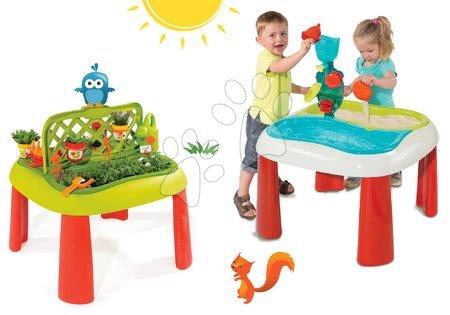 Set detský stôl Záhradník De Jardinage 2v1 Smoby s plotom a stôl Voda&Piesok 2v1 s mlynom od 2 rokov