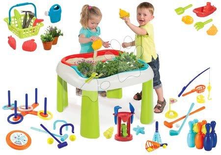 Hrací a piknikové stoly - Set stůl Zahradník De Jardinage 2v1 Smoby dvoudílný se zahrádkou s mlýnem a sportovní hry