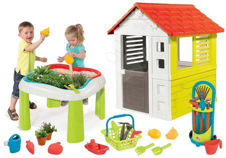 Hrací a piknikové stoly - Set stůl Zahradník De Jardinage 2v1 Smoby dvoudílný se zahrádkou a domeček Lovely a vozík s nářadím