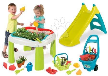 Set stůl Zahradník De Jardinage 2v1 Smoby dvoudílný se zahrádkou a skluzavka Toboggan XS s vodou a vozík s nářadím