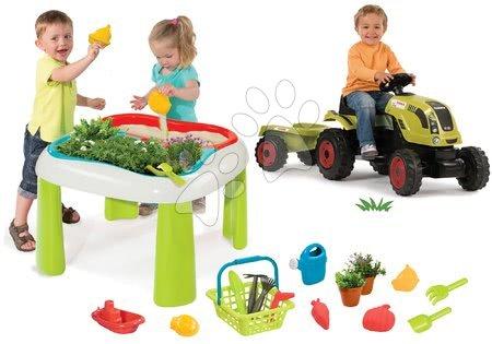 Claas - Set stůl Zahradník De Jardinage 2v1 Smoby dvoudílný se zahrádkou a traktor Claas Farmer XL s přívěsem