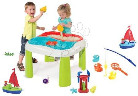 Hrací a piknikové stoly - Set stůl Voda & Písek 2v1 Smoby s mlýnem, rybářská udice, 2 ryby a loď s námořníkem od 18 měsíců