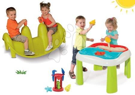 Set stôl pre deti Voda&Piesok 2v1 Smoby s mlynom a obojstranná hojdačka Tuleň s vodotryskom od 18 mesiacov