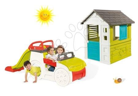 Set preliezačka pre deti Adventure Car Smoby so šmykľavkou dlhou 150 cm a domček Pretty Blue od 2 rokov