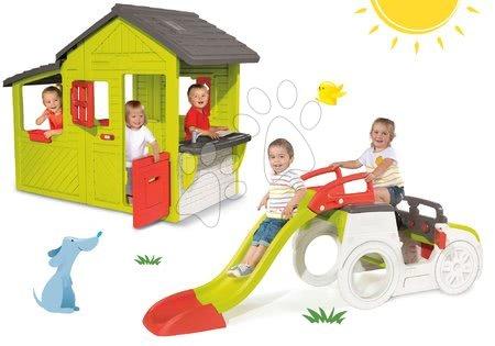 Preliezačka Adventure Car s pieskoviskom a šmykľavkou+domček Záhradník Floralie s kuchynkou SM840200-18