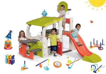 Szett játszótér Fun Center Smoby csúszdával hossza 150 cm, spriccelő vízi bohóc és 7 sport játék 24 hó-tól