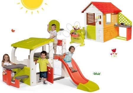 Set hracie centrum Fun Center Smoby so šmykľavkou a domček Slniečko Sunny so zvončekom, kuchynkou a záhradkou od 24 mes