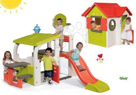 Set hracie centrum Fun Center Smoby so šmykľavkou dlhou 150 cm a domček My House od 24 mes
