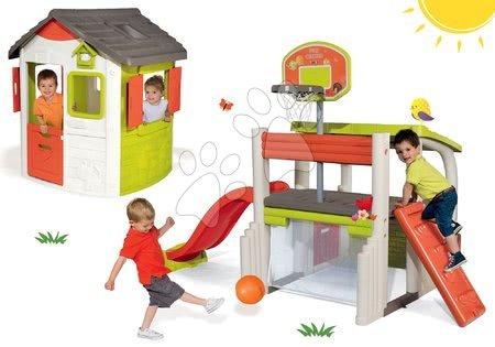 Set hracie centrum Fun Center Smoby so šmykľavkou dlhou 150 cm a domček Jura Lodge od 24 mes