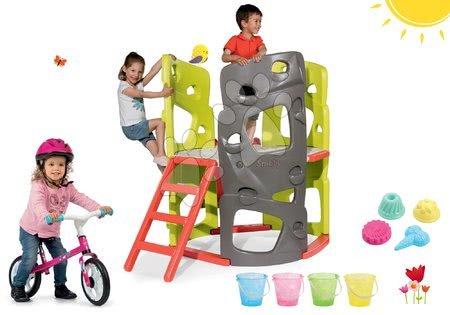 Jucării pentru fetițe - Set centru de căţărat Multi-Activity Tower Smoby cu bară pentru căţărat, tobogan și babytaxiu First Bike cu 4 găleţi şi îngheţată de la 24 luni
