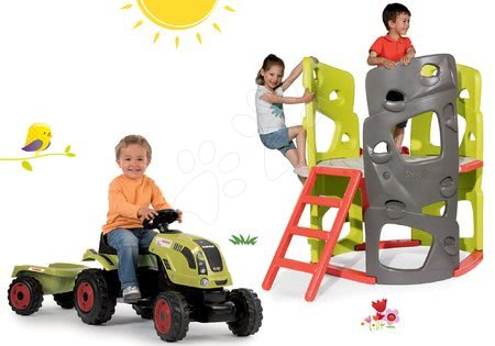 Claas - Set prolézačka Multiactivity Climbing Tower Smoby na šplhání se skluzavkou a traktor na šlapání Claas Farmer XL s přívěsem od 24 měsíců