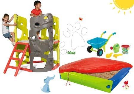 Igračke i igre za vrt - Set penjalica Multiactivity Climbing Tower Smoby za penjanje s toboganom i pješčanik s navlakom i tačkama, od 24 mjeseca
