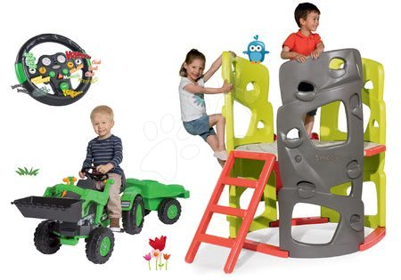 Hračky pre chlapcov - Set preliezačka Multiactivity Climbing Tower Smoby na šplhanie so šmykľavkou a traktor na šliapanie s nakladačom a interaktívnym volantom od 24 mes
