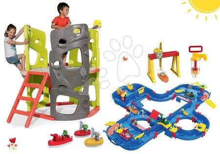 Hračky pre chlapcov - Set preliezačka Multiactivity Climbing Tower Smoby na šplhanie so šmykľavkou a vodná dráha Aquaplay'n Go so žeriavom, loďkami a vodnou pumpou od 24 mes