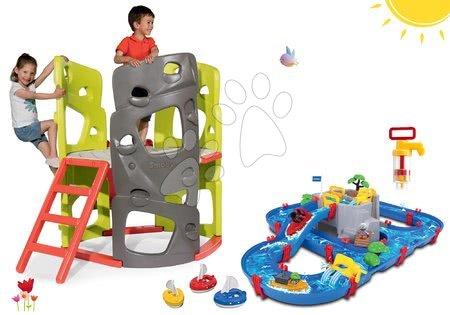 Igračke i igre za vrt - Set penjalica Multiactivity Climbing Tower Smoby za penjanje s toboganom i vodena staza Mountain Lake s gorskom spiljom, pumpom i brodićima, od 24 mjeseca