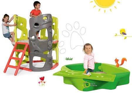 Igračke i igre za vrt - Set penjalica Multiactivity Climbing Tower Smoby za penjanje s toboganom i pješčanik Sandy s navlakom, od 24 mjeseca