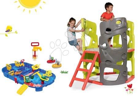 Igračke i igre za vrt - Set penjalica Multiactivity Climbing Tower Smoby za penjanje s toboganom i vodena staza Lock Box u kovčegu s brodićima i pumpom, od 24 mjeseca