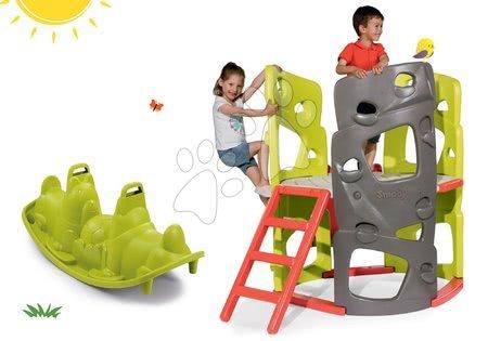 Igračke i igre za vrt - Set penjalica Multiactivity Climbing Tower Smoby s trima zidovima za penjanje s toboganom i obostrana klackalica Pas na poklon, od 24 mjeseca