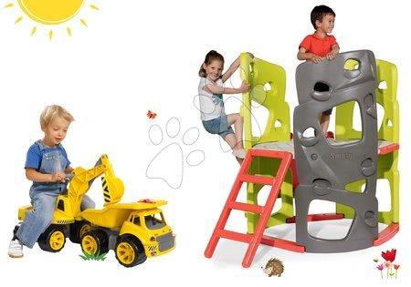 Komplet plezalo Multi-Activity Climbing Tower Smoby z drogom in toboganom in bager delovni stroj in poganjalec z nakladalno roko od 24 mes