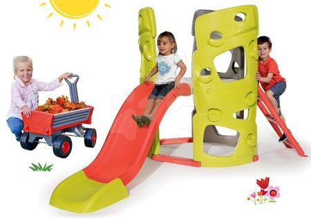 Igračke i igre za vrt - Set penjalica Multiactivity Climbing Tower za penjanje s toboganom Smoby i kolica Peppy Handwagen s okretnim kotačima