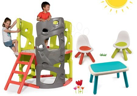 Igračke i igre za vrt - Set penjalica Multiactivity Climbing Tower za penjanje s toboganom Smoby i stol s dvama stolcima