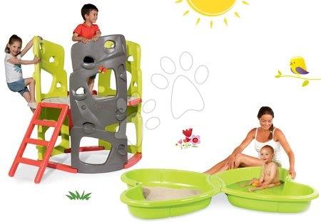 Jucării pentru fetițe - Set centru de căţărat Multiactivity Climbing Tower Smoby 3 pereți de căţărat, tobogan și nisipar Fluture cu jet de apă de la 24 luni