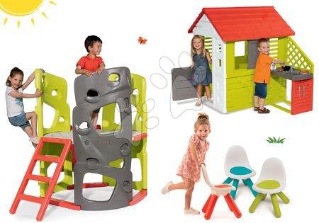 Igračke i igre za vrt - Set penjalica Multiactivity Climbing Tower Smoby za penjanje s toboganom i kućica Pretty Nature s kuhinjom i trima stolcima KidChair, od 24 mjeseca
