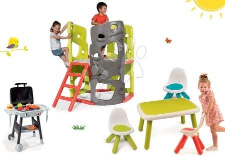 Igračke i igre za vrt - Set penjalica Multiactivity Climbing Tower Smoby za penjanje s toboganom i 3 stolca sa stolićem i grilom, od 24 mjeseca