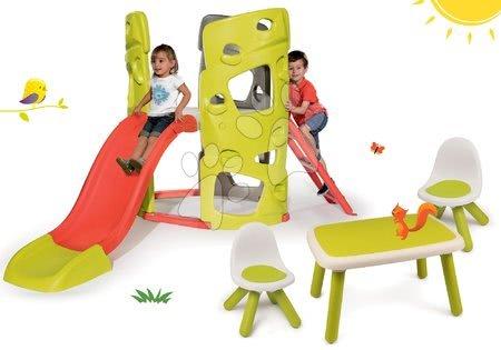 Igračke i igre za vrt - Set penjalica Multiactivity Climbing Tower Smoby za penjanje s toboganom te 2 stolca i stolić KidTable, od 24 mjeseca