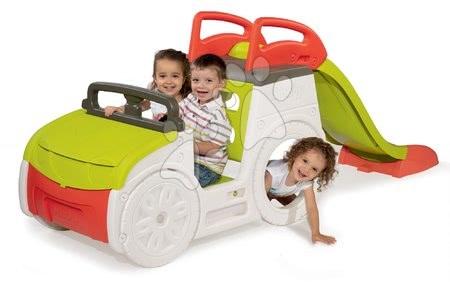 Preliezačka auto Adventure Car Smoby so zvukom, pieskoviskom a 150 cm šmykľavkou s UV filtrom od 18 mesiacov