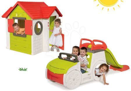 Set căţărător Adventure Car Smoby cu tobogan cu lungime de 150 cm şi căsuţă My House de la 24 luni