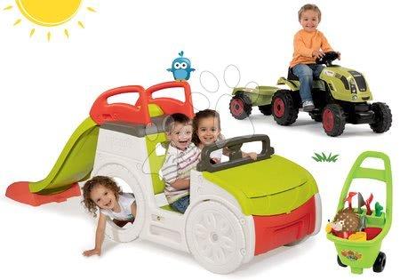 Szett mászóka Adventure Car Smoby csúszdával hossza 150 cm, traktor Claas Farmer XL és kiskocsi kertészeknek 24 hó-tól