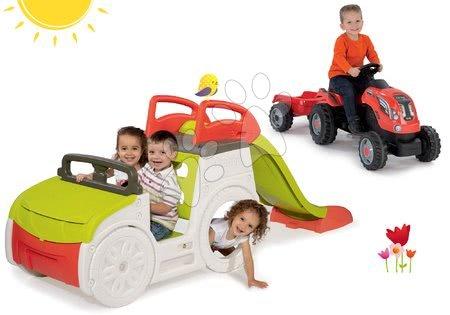 - Szett mászóka Adventure Car Smoby csúszdával hossza 150 cm és traktor Farmer XL pótkocsival 24 hó-tól
