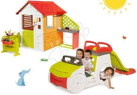 Igračke i igre za vrt - Set penjalica Adventure Car Smoby s toboganom i kućica Sunašce Sunny sa zvoncem, kuhinjom i vrtom, od 24 mjeseca