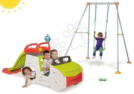 Set prolézačka Adventure Car s pískovištěm Smoby a skluzavkou a houpačka s kovovou konstrukcí od 24 měsíců