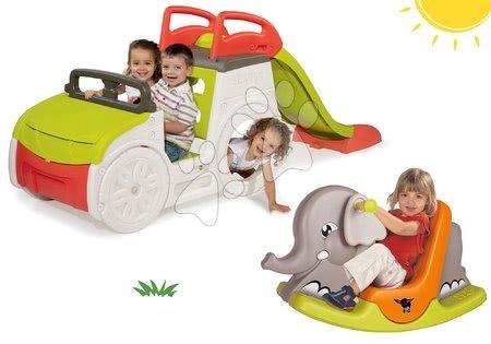 - Szett mászóközpont Adventure Car Smoby csúszdával és Elefánt hinta mozgó fülekkel 24 hó-tól