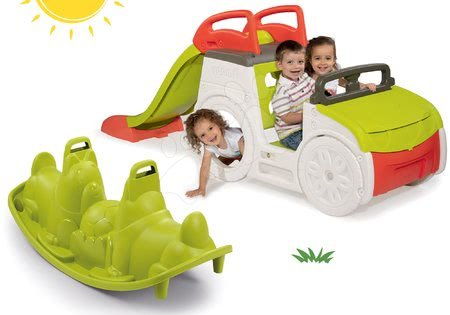 Set preliezačka Adventure Car Smoby so šmykľavkou dlhou 150 cm a obojstranná hojdačka Pes od 18 mes